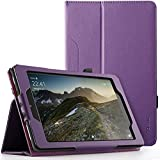 Poetic SlimFolio case All Amazon Fire HD 8 Tablet (7th 8th Generation, 2017 2018 Release) - Slim Leather Stand Folio Smart Cover Case Auto Wake/Sleep - Purple