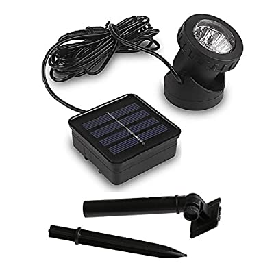 Solar Powered LED Spot Light,LIYUDL 6LED IP65 Waterproof Separeted Panel and Light with Adjustable Angle,Auto On/Off for Outdoor Garden Courtyard Lawn Fish Tank Pool Landscape Lighting