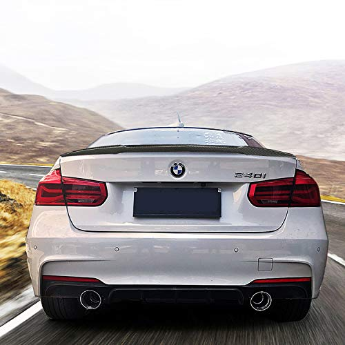Trunk Spoiler for BMW 3 Series Sedan F30 2012-17 328i 335i 320i 316i 318i 318d 340i 330e M Style Carbon Fiber Rear Tail Lip Deck Boot Wing Glue, Easy ()