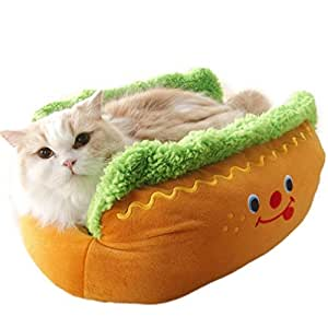 Comfortable and Warm Hot Dog Plush Pet Bed Cushion Mat for Cats & Dogs with Removable Cover Yellow S