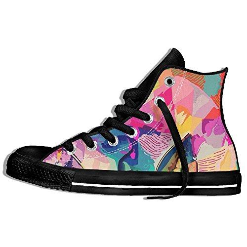 Baskets Montantes Classiques Chaussures De Toile Anti-dérapant Visage Aquarelle Occasionnels Marche Pour Hommes Femmes Noir