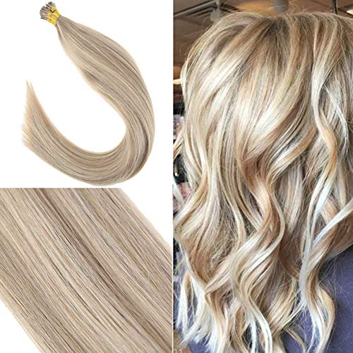 Youngsee 22inch I Tip Hair Extensions Ombre Golden Blonde Highlights with Light Blonde Pre bonded I Tip Human Hair Extensions 50gram
