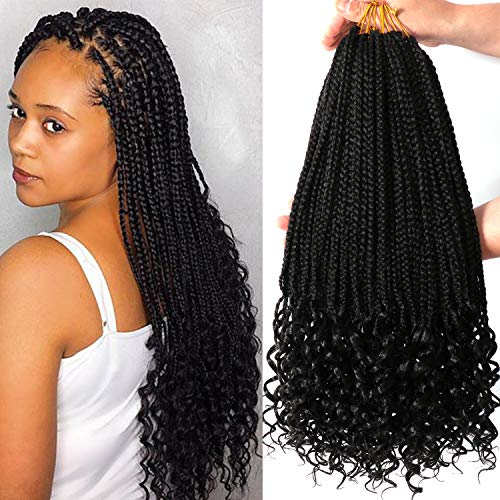 7 Packs 18 Inch Box Braids Crochet Braids with Curly Ends 3X Box Braid Crochet Hair Extension 20 Strands/Pack (18 Inch, 1B#)