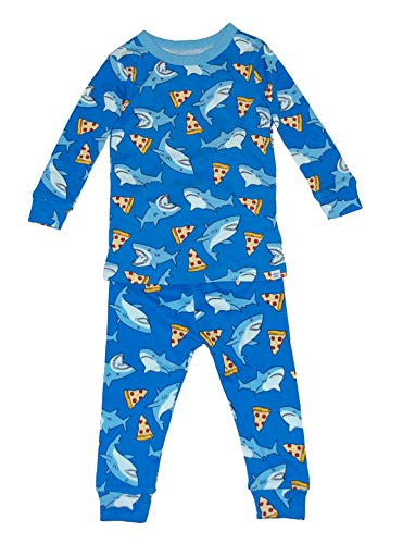 GAP Baby Boys Shark & Pizza Sleep Set 2 Pc Pajama Set (12-18 Months) Gray