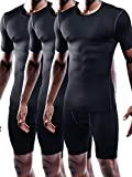 Neleus Men's 3 Pack Athletic Compression Under Base Layer Sport Shirt,Black,L