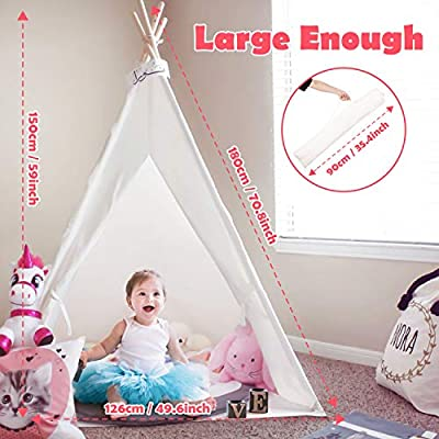 Peradix Teepee Tent for Kids, Foldable Children Indian Play Tents for Girl and Boy with Carry Bag Canvas Playhouse Toys for Girls or Child Indoor and Outdoor Camping with Cotton Cushion Flags(White): Toys & Games