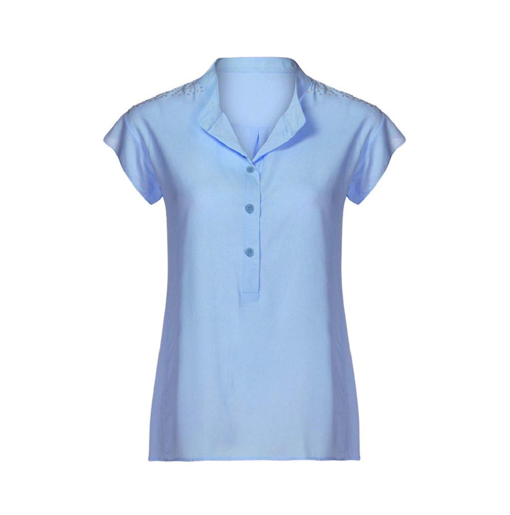 Women's T-Shirt, JHKUNO Plus Size Sleeveless Button Down Shirts Crystal Solid Loose Tunic Tops Plain Pleated Blouse Blue