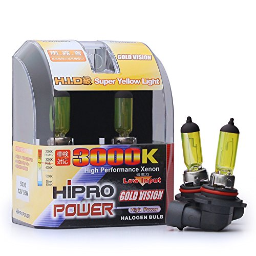 Hipro Power 9006 55W 3000K Golden Yellow Xenon HID Halogen Headlight Bulbs - Low Beam