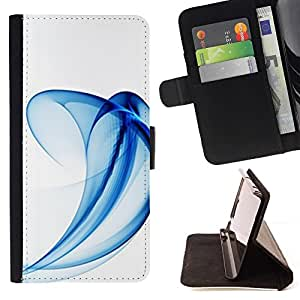 Momo Phone Case / Flip Funda de Cuero Case Cover - Curvy Wave líneas minimalistas Azul - MOTOROLA MOTO X PLAY XT1562