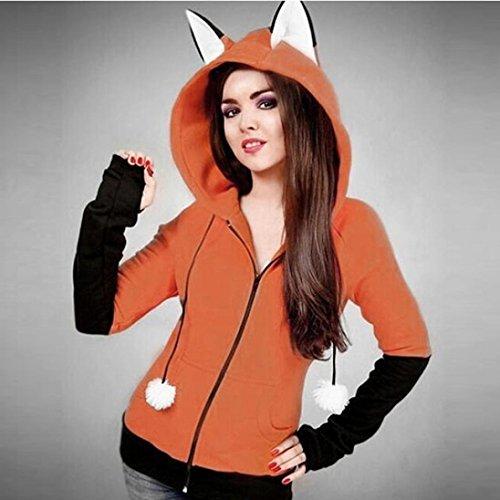 Sudadera Hoodie Ears Fox Manga Jacket Mujeres Larga Naranja Capucha Autumn Chaqueta Mujer Coat Con IMJONO qTtwgxHAA