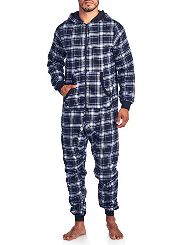 Ashford & Brooks Mens Flannel Hooded One Piece Pajama Union Jumpsuit - Black Blue Ivory - - Piece One Suits Men For