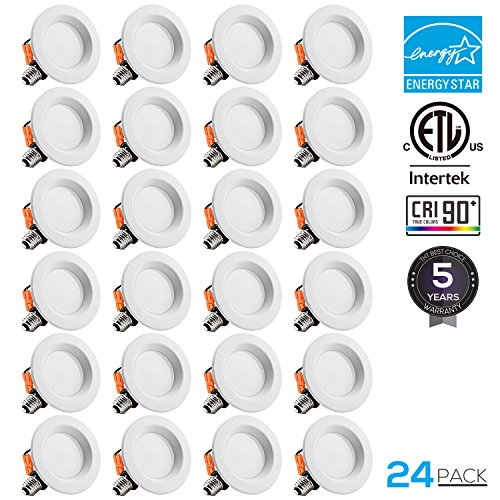 TORCHSTAR 24-PACK 5/6 inch Dimmable Recessed LED Downlight, 15W (90W Equivalent), CRI 90+, ENERGY STAR,2700K Soft White, 1250lm, LED Retrofit Lighting Fixture, 5 YEARS WARRANTY by TORCHSTAR
