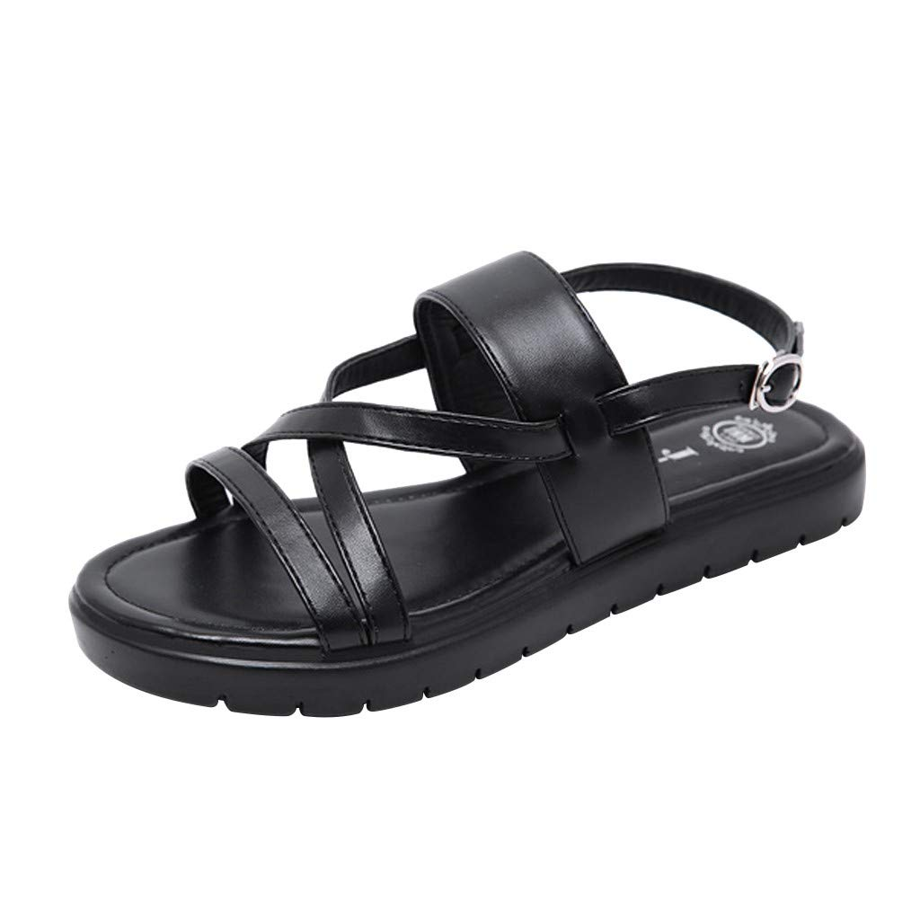 Fastbot Women's Summer Sandals Open Toe Casual Comfort Flat Open Beach able Buckle Shoes Black