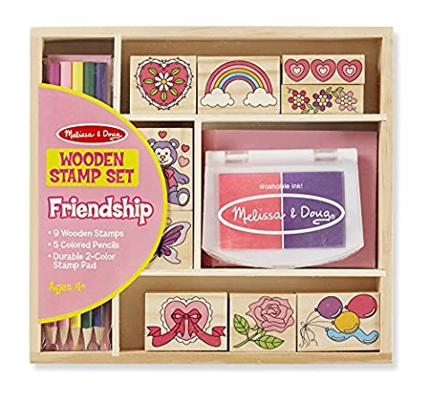 Melissa & Doug Wooden Stamp Set: Friendship - 9 Stamps, 5 Colored Pencils, and 2-Color Stamp Pad (Melissa Littles)