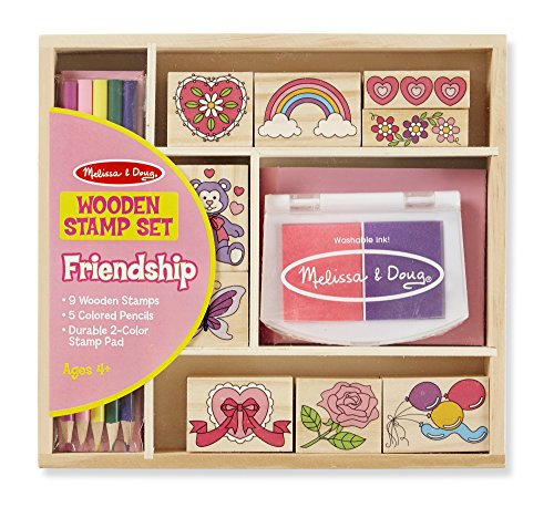 Melissa & Doug Wooden Stamp Set: Friendship - 9 Stamps, 5 Colored Pencils, and 2-Color Stamp Pad Doug Stamp Set