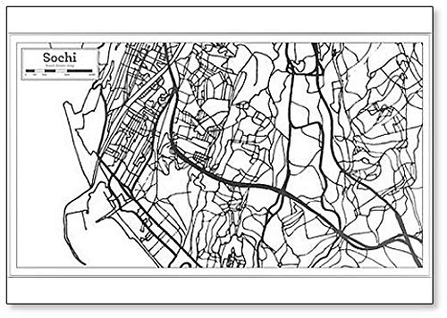 Sochi Russia City Map in Retro Style. Outline Map Classic Fridge Magnet