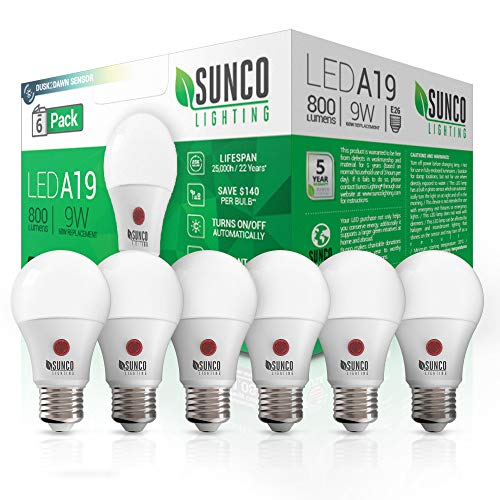 Sunco Lighting 6 Pack A19 LED Bulb with Dusk-to-Dawn, 9W=60W, 800 LM, 5000K Daylight, Auto On/Off Photocell Sensor - UL ()