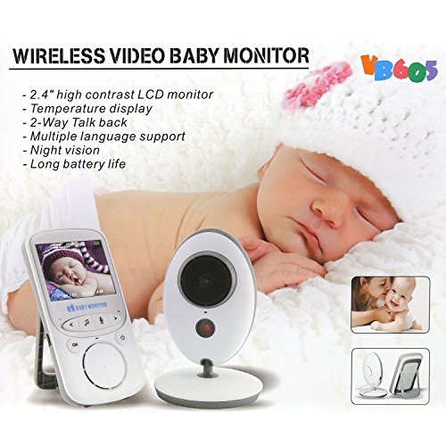 Homevol Video Baby Monitor with LCD Display, Digital Camera, Infrared Night Vision, Two Way Talk Back, Temperature Monitoring, Lullabies, Long Range and High Capacity Battery