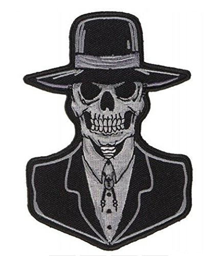 Preacher Skull Patch Embroidered Iron On Biker Skater Halloween Horror -