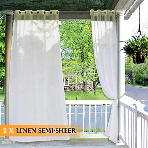 RYB HOME Outdoor Semitransparent Sheer - Linen Look Sheer Curtains (Bonus Ropes Included, Wide 54