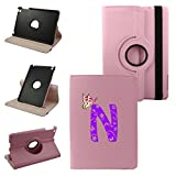 Ipad Letter N 2nd Generation, 3rd Generation, 4th Generation Cover Synthetic Leather Rotating Ipad Case: 360 Degrees Multi-angle Vertical and Horizontal Stand with Strap (N-Pink)