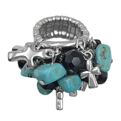 Large Cluster Abstract Statement Big Stretch Cocktail Ring (Imitation Turquoise & Cross Charms Silver Tone) - Multi Color Cross Ring