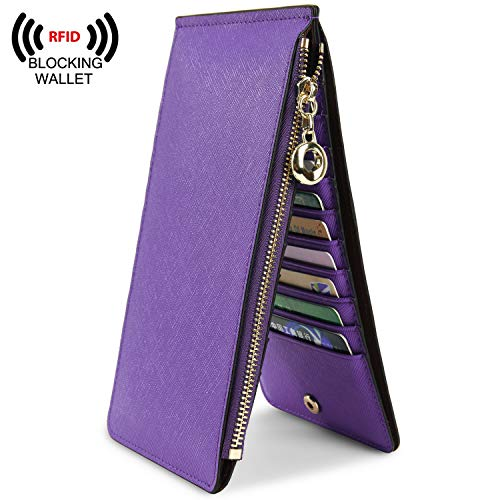YALUXE Leather Wallet for Women Women's RFID Blocking Genuine Leather Multi Card Organizer Wallet with Zipper Pocket RFID Blocking purple