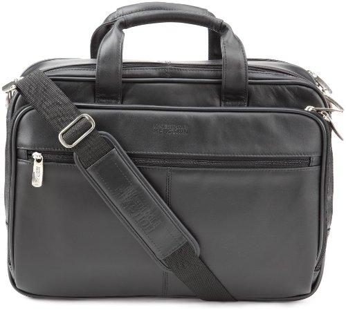 Lined Top Zip Briefcase (Kenneth Cole Leather Portfolio/Computer Case, Black, Fits 15.4