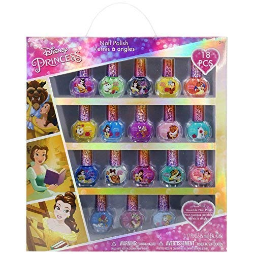 Townley Girl Disney Princess Belle Non-Toxic Peel-Off Nail Polish Set for Girls, Glittery and Opaque Colors, Ages 3 and Up (18 Pack) by Townley Girl