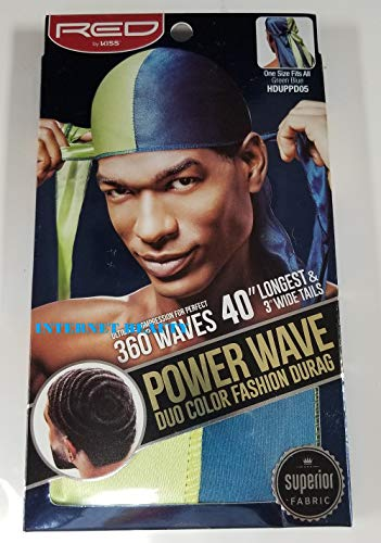 RED by KISS POWER WAVE DUO COLOR FASHION SATIN Durag (HDUPPD05-GREEN BLUE)