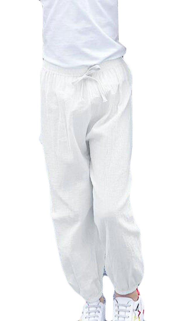 JuJuTa Girls Drawstring Cotton Elastic Wasit Jogger Pants Active Lightweight Pant White 4