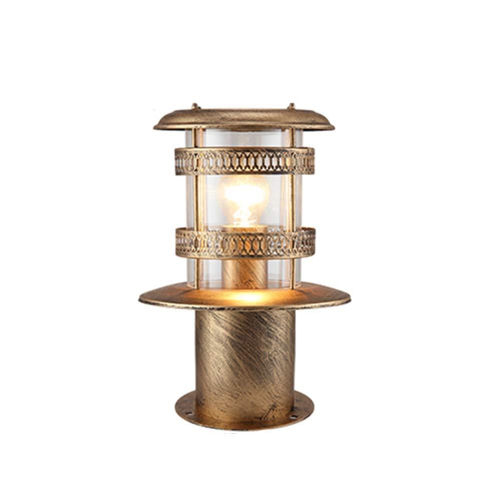Vintage Retro E27 Wasserdicht Wegeleuchte Pfostenlampe Aussen aus Aluminiumguss mit Klar glass IP54 Pollerleuchte für Rasen Wege Garten Hof Scenic Area,Bronze Höhe 30CM