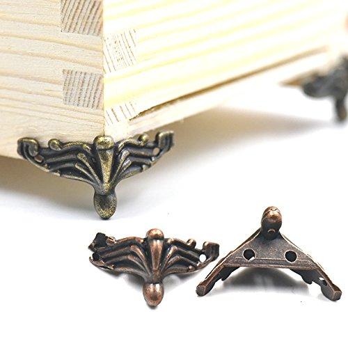 Fujiyuan 10 pcs Alloy Jewelry Chest Box Wood Decorative Feet Leg Corner Protector bronze 37mm 1.46