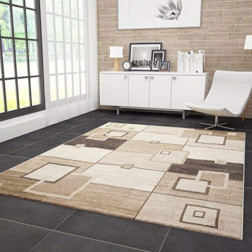 VIMODA Moderner Wohnzimmer Teppich Kariert Retro Design Strapazierfähig in Braun 80x300 cm