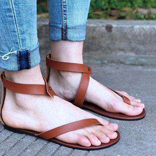 Römergurt Beach Lässige VJGOAL Sandalen Flach Braun Schuhe Ankle Damen Sommer Sandalen Schuhe Party Damen Tanga 0wIpxqIFC