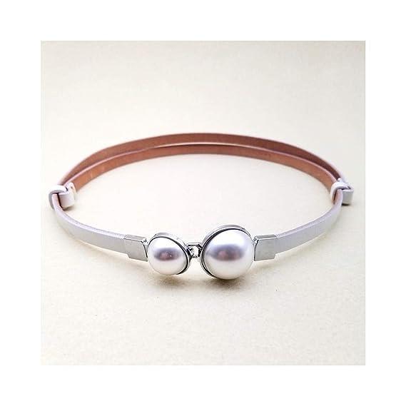 Cinturón de perlas de cuero Falda decorativa de moda para mujer ...