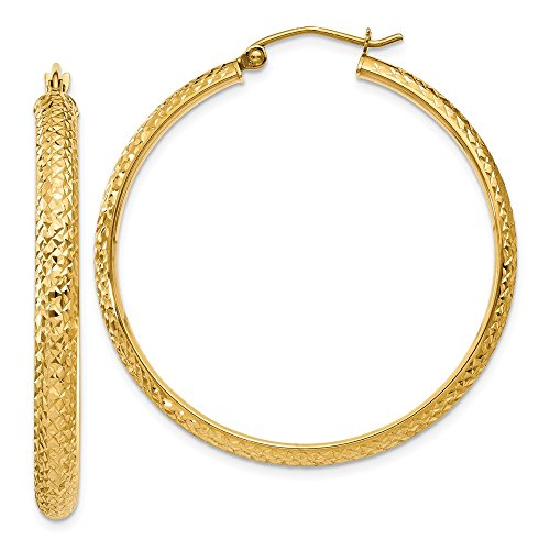 Earrings Gold C-hoop 14k (14k Yellow Gold D/C 3.5mm Hollow Hoop Earrings (1.5IN Diameter))