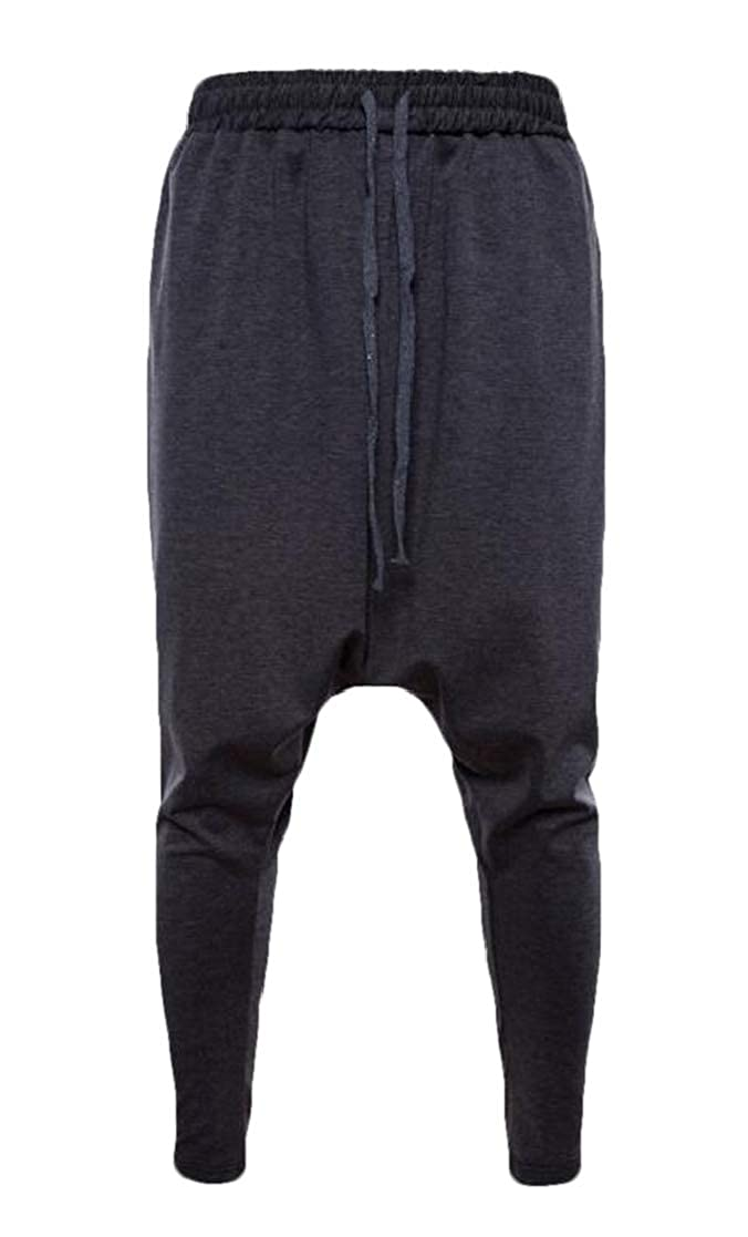 Jofemuho Mens Solid Color Harem Sport Elastic Waist Pants Trousers