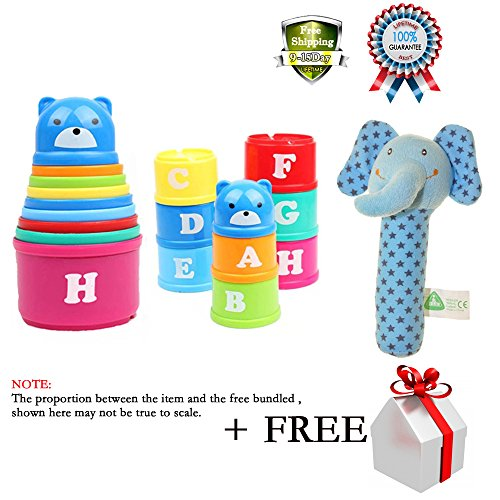 Kids Sorting Brilliant Basics Stacking Baby Toys Folding Roll Cup Figures Letters Stick Rattle Toy Pram Crib Activity Xmas Gift Various Color