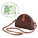 Crossbody Straw Bag, JOSEKO Womens Straw Handbag Shoulder Bag for Beach Travel and Everyday Use Dark Brown 8.07