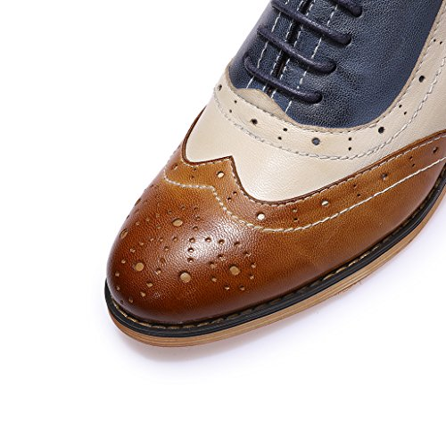 Lace Perforated Mona for blue Shoes Brown white Multicolor Oxfords Leather Women's up Brougue Women Shoes Wingtip Flying IxtT4I