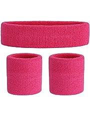 ONUPGO Schweißband Set Sportstirnband Handgelenk gestreifte Schweißbänder Frottee Sporttraining Basketball-Armband Stirnbänder Feuchtigkeitstransport Schweiß absorbierendes Stirnband