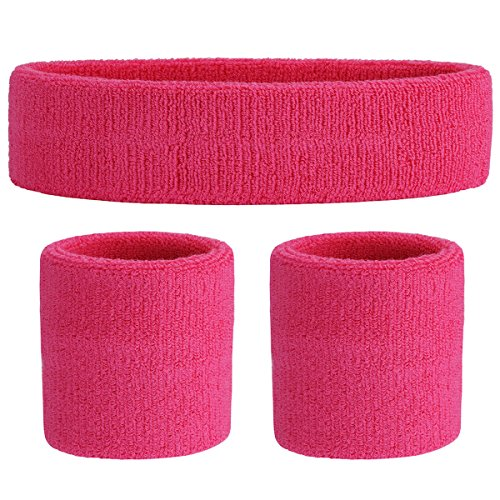 OnUpgo Pink Sweatband Set (3 Pieces) Cotton Headband/Wristbands for Men Women Girls Boys and Youth, Athletic Headbands Fit for Sports, Running, Yoga, Basketball, Football, Cycling, Gym (Pink)