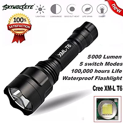 Hatop 5000Lm C8 XM-L T6 LED 18650 Flashlight 5 Mode Torch Tactical Light Lamp