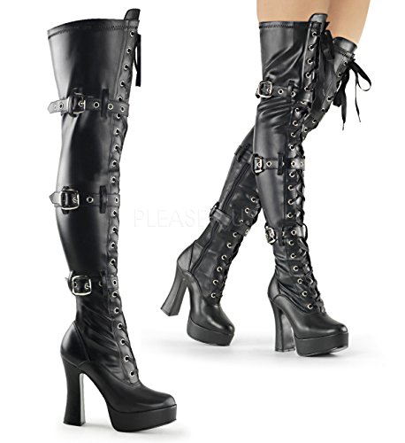 Pleaser Women's Ele3028/b/pu Boot, Strap Faux Leather/Black Matte, 8 M ()