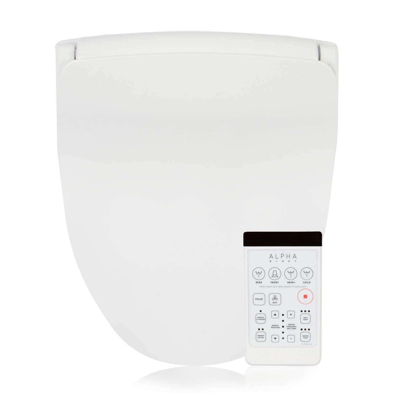 Alpha Bidet iX Hybrid Bidet Toilet Seat in Round White | Endless Warm Water | Stainless Steel Nozzle | 4 Wash Functions | LED Nightlight | Warm Air Dryer | Wireless Remote | Oscillation and Pulse