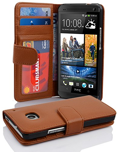 Cadorabo Book Case Works with HTC ONE M7 (1. Gen.) in Cognac Brown - with Magnetic Closure and 3 Card Slots - Wallet Etui Cover Pouch PU Leather Flip