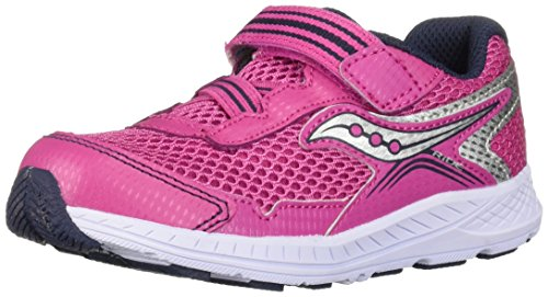 Saucony Girls' Ride 10 JR Sneaker, Pink/Silver, 9.5 M US Toddler (Saucony Kids Shoes)