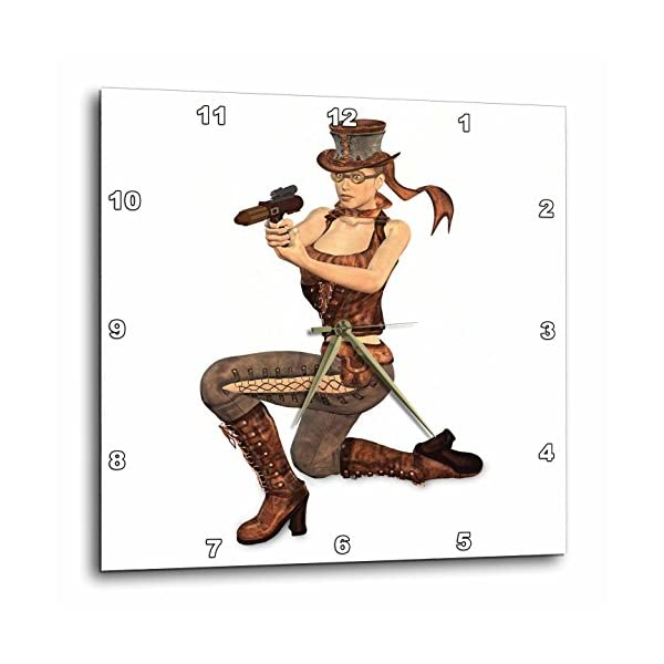 3dRose dpp_179999_3 A Female Steampunk Character Posing with a Gun-Wall Clock, 15 by 15-Inch 3