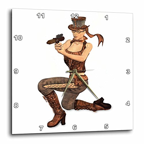3dRose dpp_179999_3 A Female Steampunk Character Posing with a Gun-Wall Clock, 15 by 15-Inch